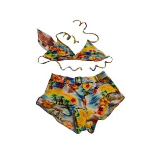 AniSea Tropical Booty Shorts Triangle Bikini Set